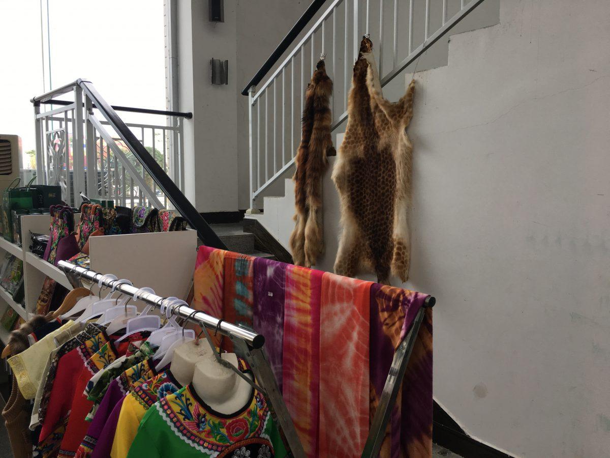 贵州安顺黄果树机场旅游商品店内的野生动物毛皮